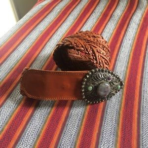 Leather Belt with Cabachon Embellished Buckle